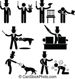 Magician Magic Show Pictogram - A set of pictograms...