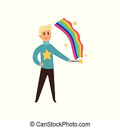 Magician man creating colorful rainbow by magic stick. Person with magical powers. Flat vector design
