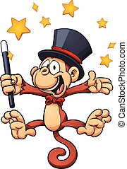 Magician monkey - Cartoon magician monkey. Vector clip art...