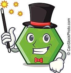 Magician octagon mascot cartoon style vector illustration