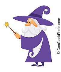 Magician or wizard with magic wand, warlock man or sorcerer...