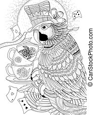 magician parrot adult coloring page - adult coloring page -...