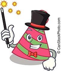 Magician party hat mascot cartoon vector illustration