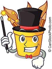 Magician pot pencil in shape cartoon funny
