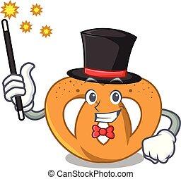 Magician pretzel mascot cartoon style