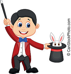 Magician pulling out a rabbit from - Vector illustration of...