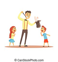 Magician pulling out a rabbit from his top hat before happy people, circus or street actor colorful cartoon detailed vector Illustration