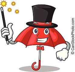 Magician red umbrella in shape cartoon funny