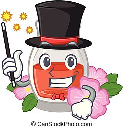 Magician rosehip seed oil on a mascot vector illustration