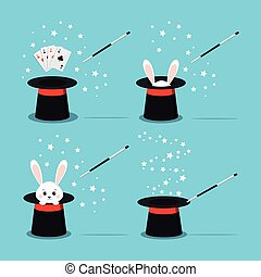 Magician s black hat with sweet white rabbit inside, bunny ears, magic hat with aces four of a kind poker out, magic wand in action and star. Vector flat design isolated illustration in cartoon style.