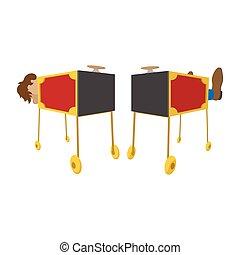 Magician sawing box cartoon icon