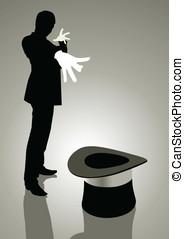 Magician - Silhouette illustration of a magician