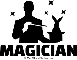 Magician silhouette magic trick