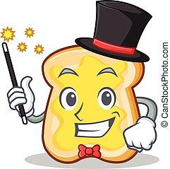 Magician slice bread cartoon character vector art...