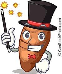 Magician sliced taro on shape cartoon funny