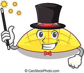 Magician slices mango on with cartoon funny