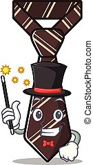 magician smiling tie isolated on the cartoon