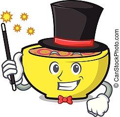 Magician soup union mascot cartoon