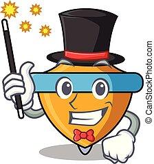 Magician spinning top mascot cartoon vector illustration