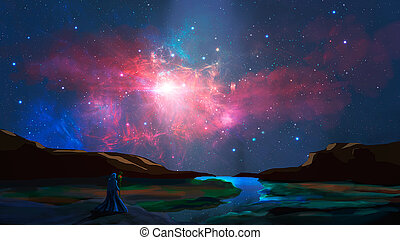 Magician stand in sci-fi landscape with river, rock and colorful nebula, digital painting. Elements furnished by NASA