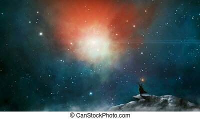 Magician standing in sci fi landscape on mountain, rock with fog and colorful nebula. Space digital painting. Elements furnished by NASA. 3D rendering