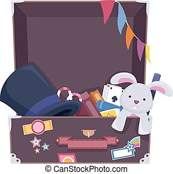 Magician Stuff Suit Case - Illustration of a Suitcase Filled...