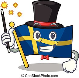 Magician swede flags flutter on character pole vector ...