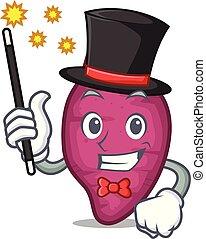 Magician sweet potato mascot cartoon