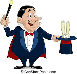 The magician pulls out a rabbit from a hat