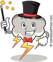 Magician thunder cloud character cartoon vector illustration
