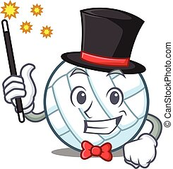 Magician volley ball character cartoon vector illustration