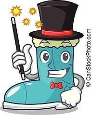 Magician winter boot in shape cartoon funny