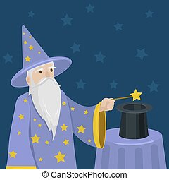 Magician with a magic wand and cylinder vector - Magician...