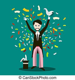 Magician with Dove on Hand, Rabbit on Hat and Confetti Vector Flat Design Illustration.  Illusionist Cartoon.