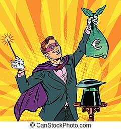 Magician with euro money