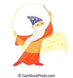 Magician with long white beard waving magic wand.