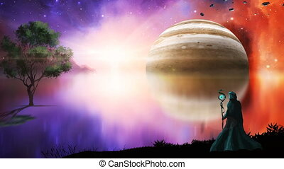Magician with nebula, gas gigant and tree. Elements furnished by NASA. 3D rendering