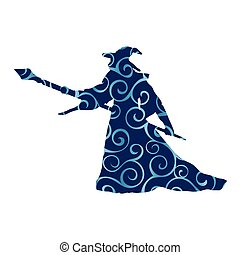 Magician wizard character pattern silhouette fantasy