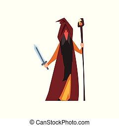 Magician wizard, fantasy magical character vector...