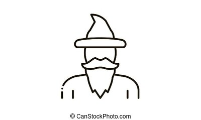 Magician Wizard Icon Animation. black Magician Wizard animated icon on white background