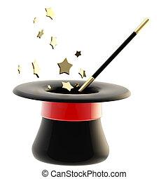 magician's, cappello, con, uno, bacchetta magica, dentro