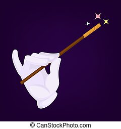 Magicians hand wearing gloves with wand and star on top of it.