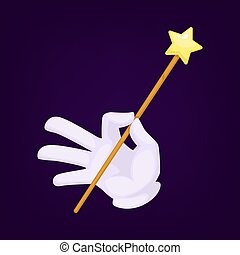 Magicians hand wearing gloves with wand vector illustration
