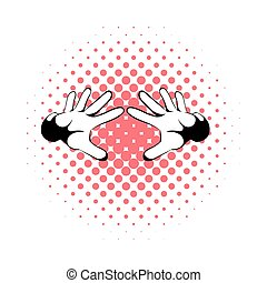 Magicians hands icon, comics style