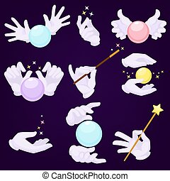 Magicians hands in white gloves with magic ball and wand