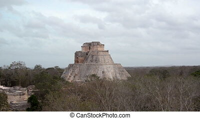 Magicians House in Uxmal Mexico - Large pyramid known as the...