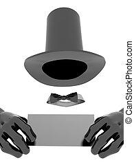 magicien, chapeau, et, gants