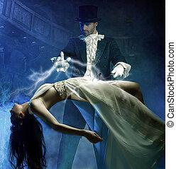 magicien, exécute, magie, à, beauté, filles, dans air