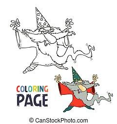 magicien, gens, coloration, vieux, dessin animé, page