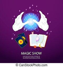 magicien, magie, illustration., réaliste, pourpre, affiche, sortilège, illusionniste, magique, gants, tour, sphère, incandescent, vecteur, arrière-plan., cartes, livre, illusion